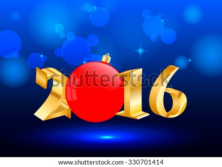 2016 brilliant blue background with Christmas balls  - stock vector
