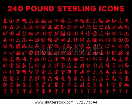 240 British Business vector icons. Style is red flat symbols on a black background. Pound sterling icon is basic element. - stock vector