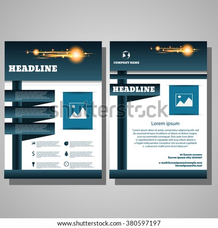 Brochure blue Flyer design Layout template infographic eps 10