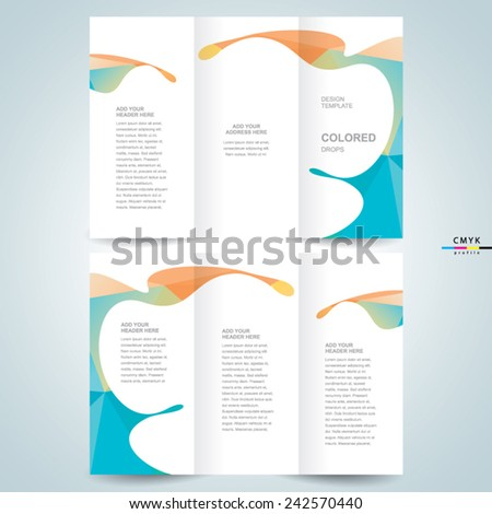 brochure design template colored drops liquid, cmyk profile - stock vector