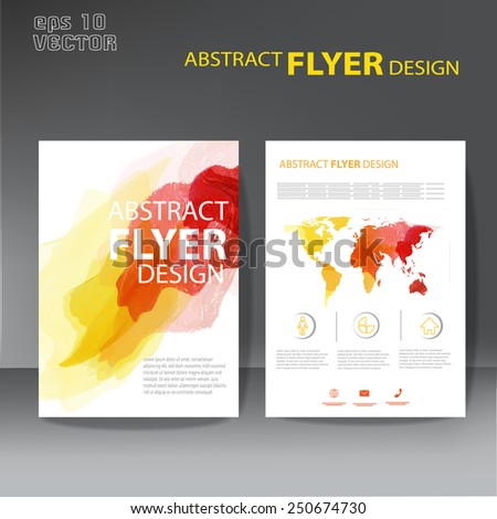brochure, flyer modern watercolor template - stock vector