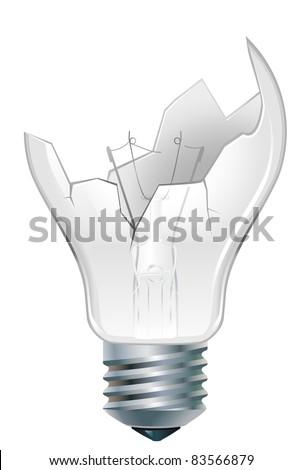 broken-down  incandescent old light bulb - stock vector