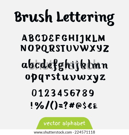 """Brush lettering"" retro vector alphabet - stock vector"