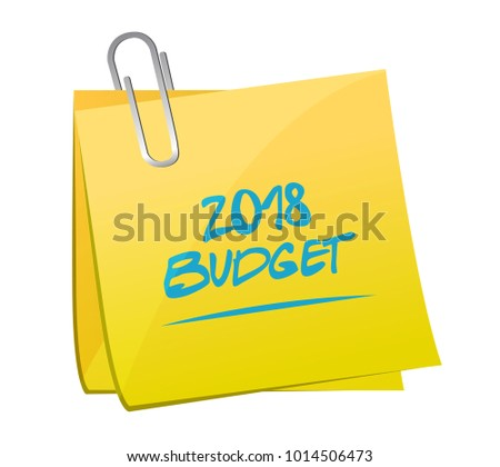 2018 budget post. Yellow post illustration design isolated over a white background