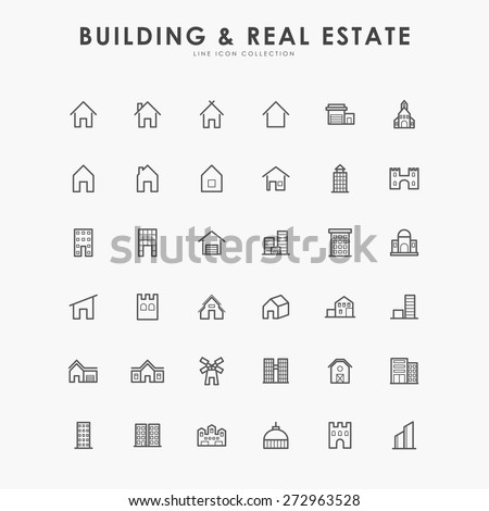 36 building and real estate minimal line icons - stock vector