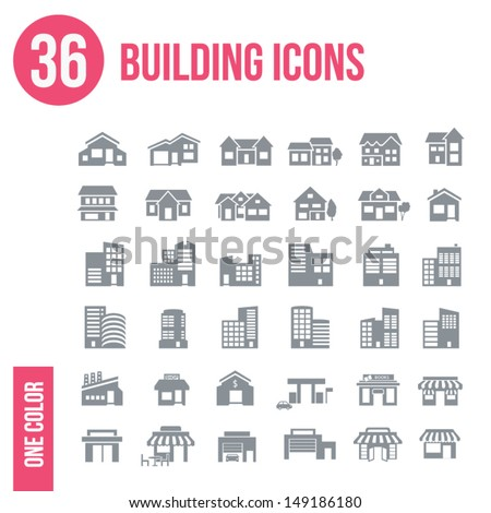 36 building icons set - one color - stock vector