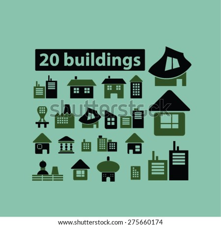 20 buildings, houses, real estate icons, signs. illustrations set, vector - stock vector