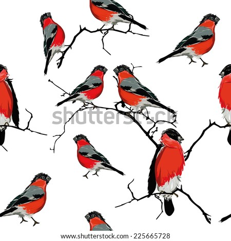 Bullfinches on the branch seamless vector pattern - stock vector