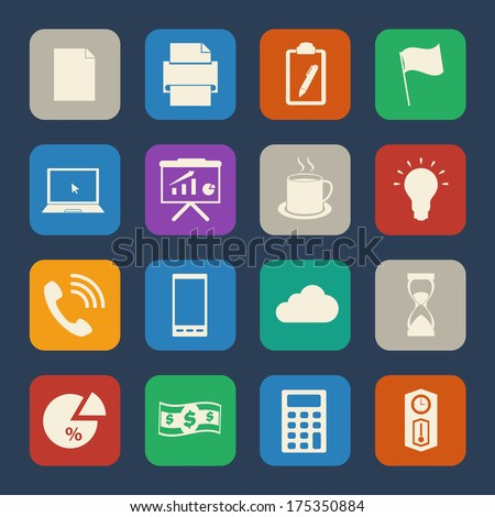 Business and office icon. Flat Icons set. Vector