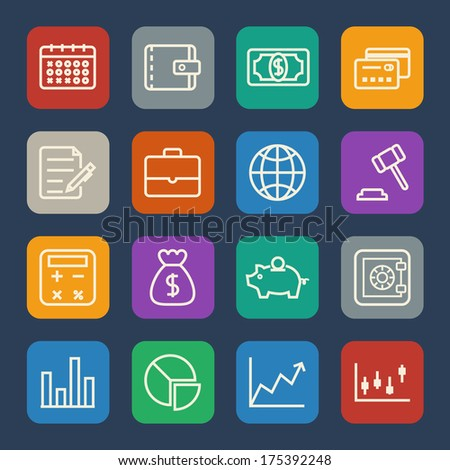 Business and office icon. Flat Icons set. Vector - stock vector