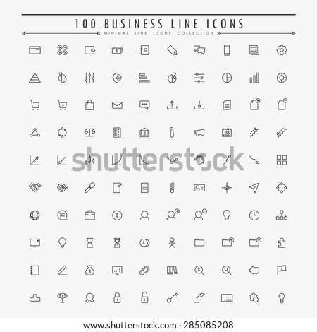 100 business and web minimal line icons collection vector - stock vector