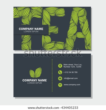Business card visiting card template letter stock vector royalty business card or visiting card template with letter tea vector design editable template wajeb Image collections