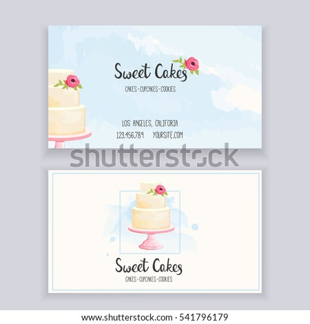 Business Card Template Bakery Lettering Watercolor Stock Vector - Cake business card template