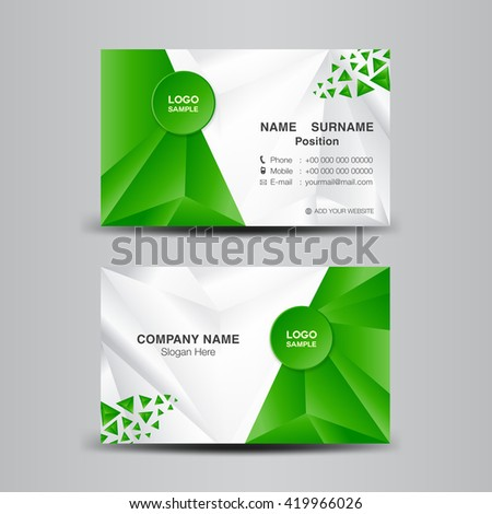 Business card template vector illustrationgreen polygon stock vector business card template vector illustrationgreen polygon backgroundflyer design name card template colourmoves