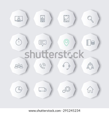 16 business, commerce, finance, line modern icons on octagon shapes with shadows, vector illustration, eps10, easy to edit - stock vector