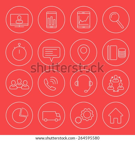 16 business, commerce, finance, line round white icons, vector illustration, eps 10, easy to edit - stock vector