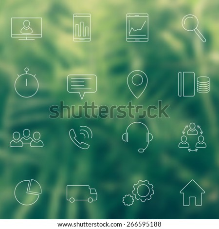 16 business, commerce, finance, line white icons on blur green background, vector illustration, eps10, easy to edit - stock vector