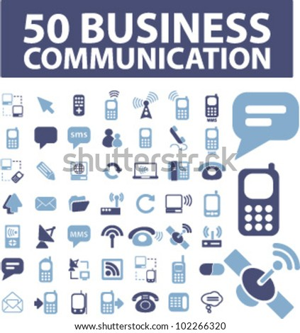50 business communication icons set, vector - stock vector