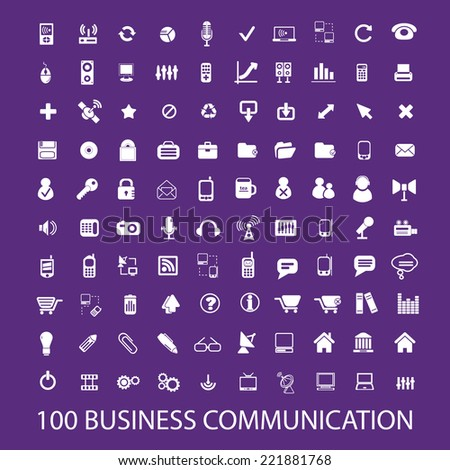 100 business communication icons, signs, illustrations, silhouettes set, vector