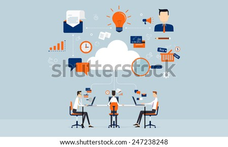 business connection on line on cloud technology - stock vector
