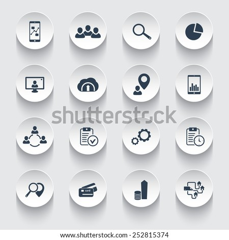 16 business 3d round icons vector illustration, eps10, easy to edit - stock vector