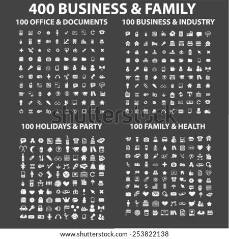 400 business, family, holidays, health, industry, office, travel, vacation, social media isolated flat icons, signs, symbols illustrations, images, silhouettes on background, vector - stock vector