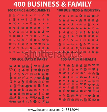 400 business, family, holidays, health, industry, web, internet, office, document icons, signs, symbols, illustrations set on background, vector - stock vector