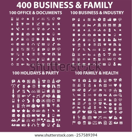 400 business, family, holidays, medicine, health, industry, travel, office, document, party, mobile, smartphone isolated icons, signs, silhouettes, illustrations concept set, vector - stock vector