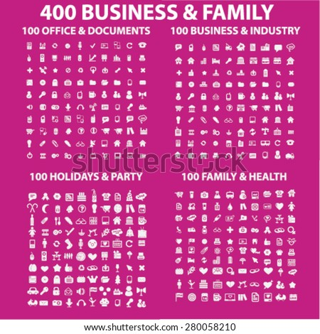 400 business, family, holidays, office, party icons set, vector - stock vector