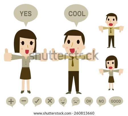 Business hand thumb up  Feedback of positive and negative . Vector illustration  - stock vector