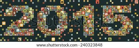 2015 Business icon set design, vector format - stock vector