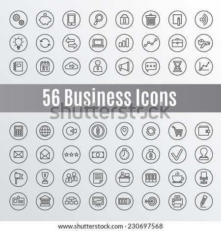 56 Business Icons - stock vector