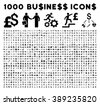 1000 business icons and bank trade symbols. Style is flat black symbols on a white background. - stock vector
