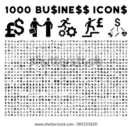 1000 business vector icons. Bank business icons. Trade business icons. Black business icons. Dollar business icons. Pound business icons. Financial business icons. Flat business icons collection. - stock vector
