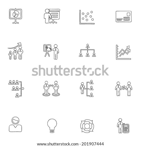 Business icons line drawing by hand Set 15  - stock vector