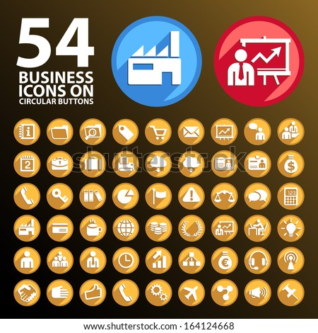 54 Business Icons on Circular Buttons. - stock vector