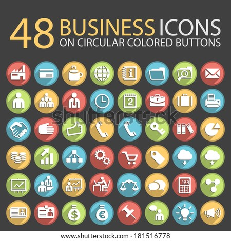48 Business Icons on Circular Colored Buttons. - stock vector