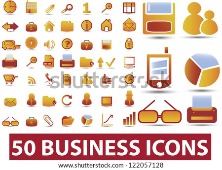 50 business icons set, vector - stock vector
