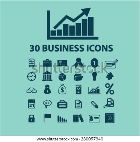 30 business icons set, vector - stock vector