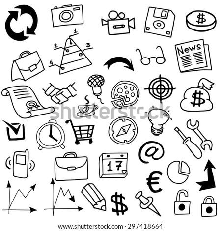 Business Idea doodles icons. Vector illustration drawn by hand.