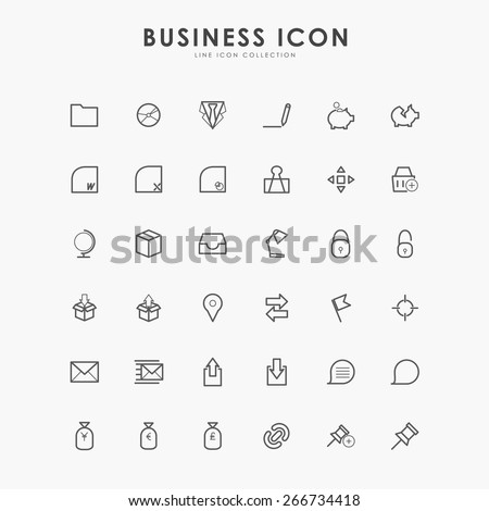 36 business line icons - stock vector