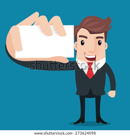 ?Business man showing blank display card.- vector illustrator  - stock vector