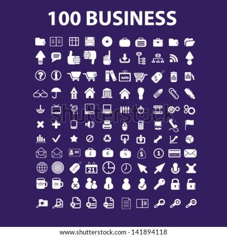 100 business, management, human resources, finance, money, management, teamwork icons set, vector - stock vector