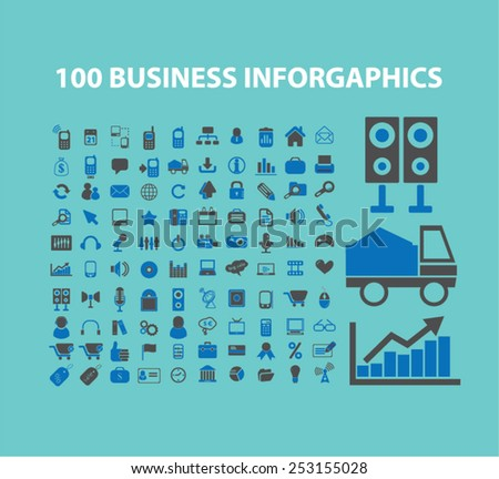 100 business, marketing, retail infographics concept - flat isolated icons, signs, illustrations set, vector - stock vector