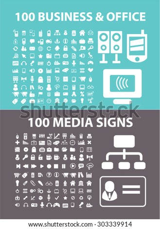 200 business, media, office flat isolated icons, signs, illustrations set, vector - stock vector