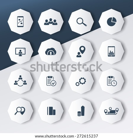 16 business octagon modern icons, vector illustration, eps10, easy to edit