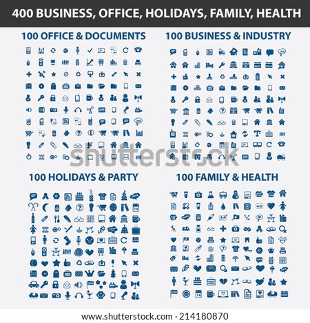 400 business, office, holidays, family, health, travel isolated icons, signs, vectors, illustrations, silhouettes set, vector - stock vector