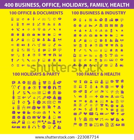 400 business, office, mobile, family, health, travel isolated icons, signs, illustrations, silhouettes set, vector on background for web and mobile  - stock vector
