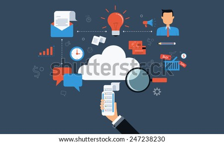 business on cloud connection technology - stock vector