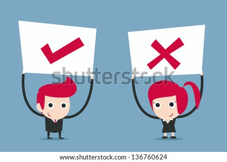 business people holding sign, cartoon vector. - stock vector